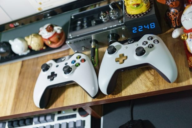 Pair of controllers in from of a television